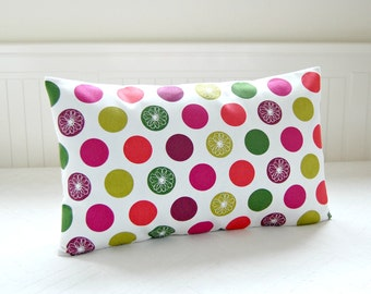 dots lumbar cushion cover, red, lime green, plum, cerise pink flowers floral spots decorative pillow cover  12 x 20 inch
