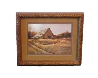 Ruane Manning framed barn print - Country barn - Autumn - Framed and matted  - 11 x 9.5