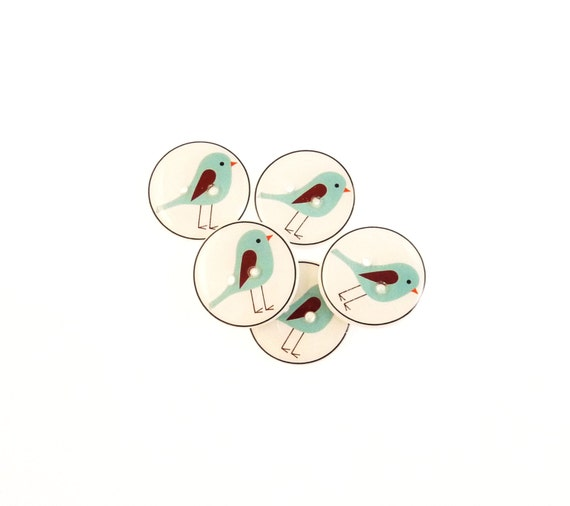 Bird Sewing Buttons.  5 Blue Bird Handmade Buttons for sewing or knitting.