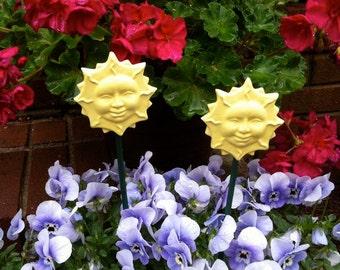 Ceramic Sun Garden Stake, Yellow Garden Stake, Garden art, Yard art, Garden Decor