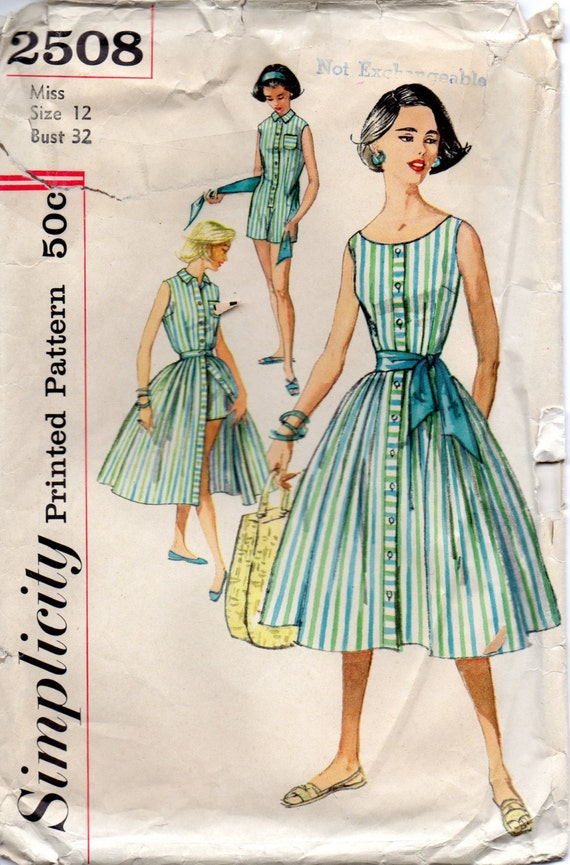 1950s simplicity 2508 misses playsuit blouse skirt by mbchills