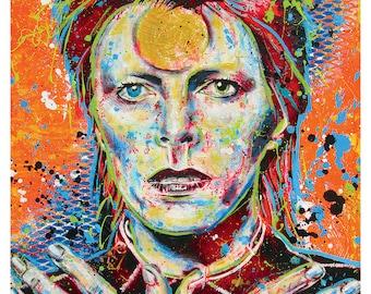 "18 x 24"" Art Print Poster - David Bowie - Ziggy Stardust thin white duke glam rock goth drag androgyny 70s music"