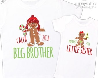 Christmas sibling set brother or sister gingerbread boy or girl matching Tshirts