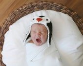 Baby Penguin Hat,  Newborn Photo Prop, Crochet  Baby Hat, Bomber Hat, Newborn Photography, Size Newborn