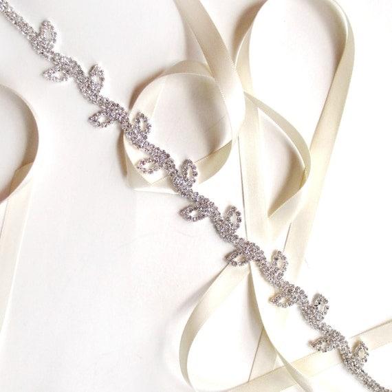 Rhinestone Leaf Bridal Headband Vine Headband Satin Ribbon