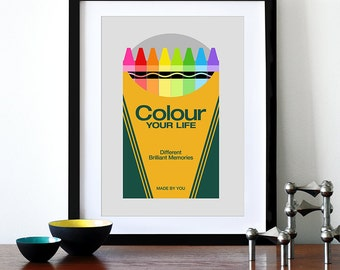 Retro poster, Crayola crayons, Mid century Modern, kitchen art, office art, nursery art, kids bedroom, typography - Colour Your Life A3