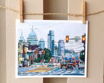Philadelphia Art Print, Philly Cityscape, Girard Avenue urban landscape blue gray Painting by Gwen Meyerson
