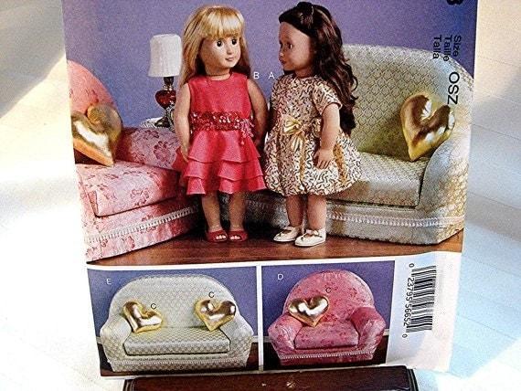 Mccalls 18 Inch Doll Furniture Pattern Sofa Chair Pillows
