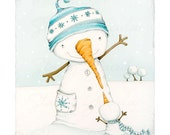 "art print - snowman - snowmen - winter - snow - turquoise - friendship - Christmas - ""Snowy Greeting"""