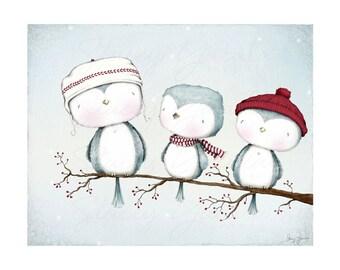 "art print - bird - branch - bird on a branch - blue - winter - christmas - illustration -""SWEET GATHERING!"""