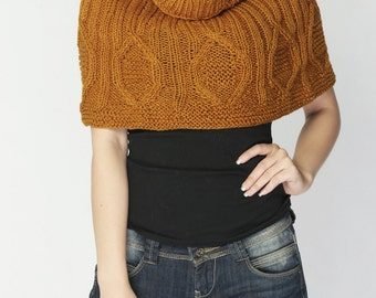sale-Hand knit woman poncho Mustard CAPELET wool poncho-ready to ship
