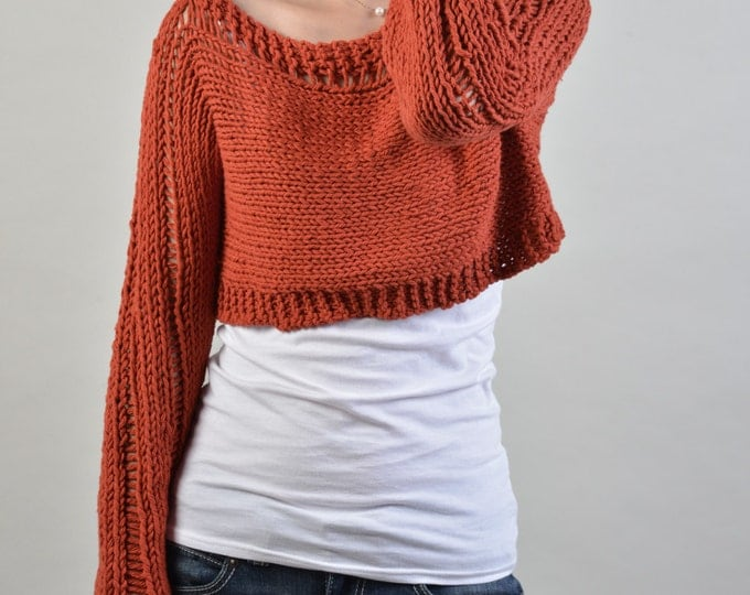 Hand knit woman sweater cropped cotton sweater Little cover up top Brick Red
