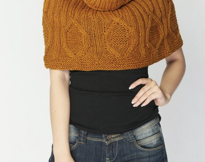Hand knit woman poncho Mustard CAPELET wool poncho-ready to ship