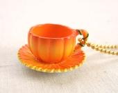 Pumpkin Teacup Necklace