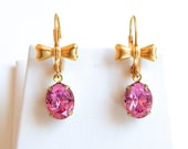 Vintage pink crystal bow earrings - hard candy