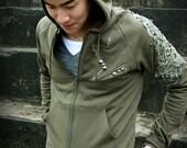 Re-constructed Men's Hoodie / Zip up hoodie / Hooded sweatshirt / Upcycled clothing  - KMT 049