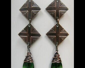 Fern Green and Copper Diamond Earrings