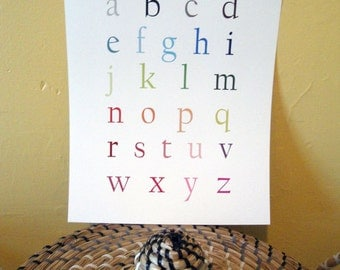 English Alphabet Poster - Lowercase 11x14