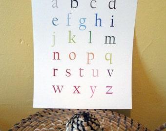English Alphabet Poster - Lowercase 11x14