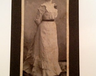 Antique Photo of a Lady Standing With  Hands Behind Back - Bessie 4 x 8-1/4