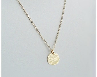 Hammered Disc Necklace, 14K Gold fill, 14K Rose Gold fill, or Sterling Silver, Simple, Modern, Gifts Under 25, Gift