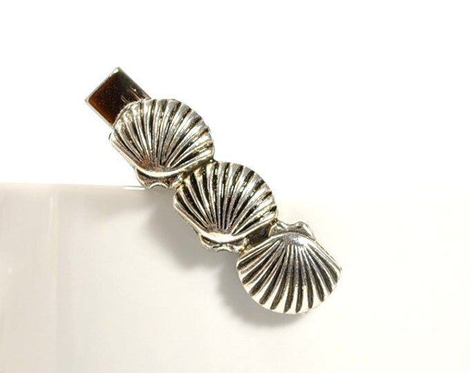 Seashell Hair Clip Shell Barrette Beach Hair Clip Silver Shell Clip Beach Hair Jewelry