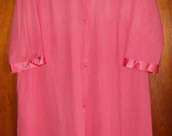 SALE - Last Chance - Vintage Vanity Fair Cerise 1950s House Coat Robe Smock Dress Nightie