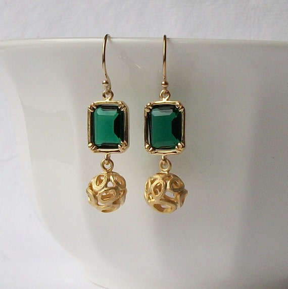 Green Faux Emerald Dangle Earrings, Emerald Birthstone Earrings