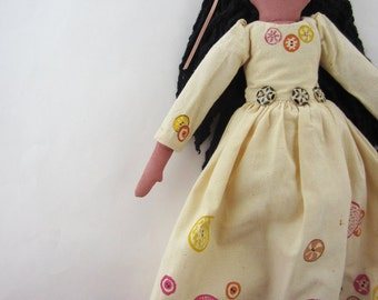 vintage handmade doll antique buttons folk art