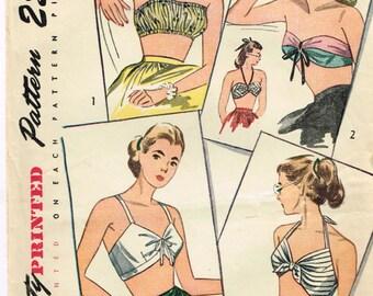 Original 1940's Swimwear Bra Pattern in Four Different Styles Simplicity 2026 Size Medium 16-18