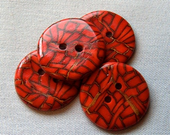 Large Red Round  Buttons No.102