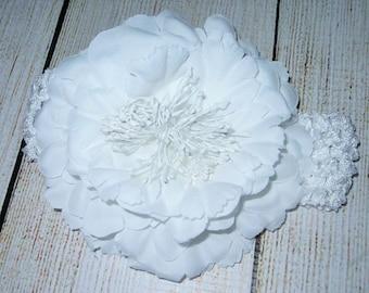 baby girl white flower headband, white crochet headband, easter headband, girls headband, photo prop