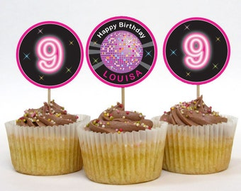 Personalized Disco or Dance Party Cupcake Toppers - 2 Inch Circles - DIY Printable (Digital File)