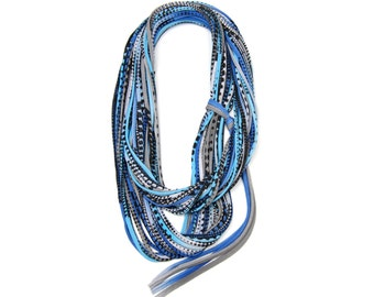 Blue Scarf, Infinity Scarf, Gifts For Her, Tribal, Hipster, Festival, Necklace, Gifts For Him, Mens Scarf, Statement Necklace, Burning Man