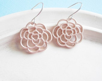 Rose Gold  Earrings - Rosette Charms