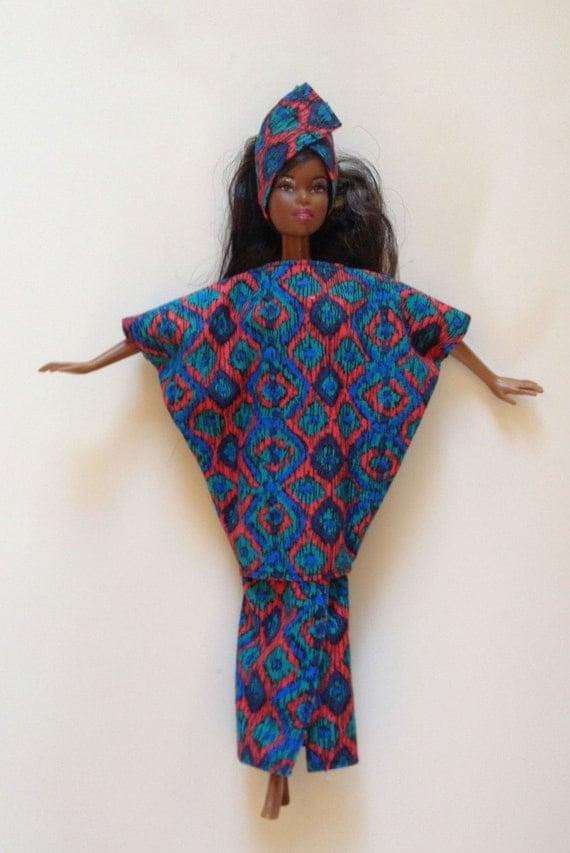handgemachte barbie kleidung afrikanischer kaftan outfit. Black Bedroom Furniture Sets. Home Design Ideas