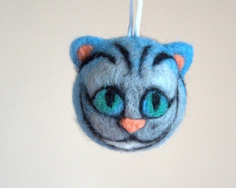 Cheshire cat head Alice in Wonderland ornament neddle felted  Birthday party decor gift Weddings favor decoration