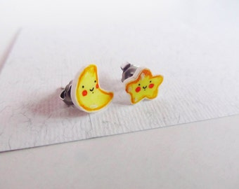 Moon & star earrings stud, kawaii jewel