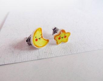 Moon & star earrings stud, kawaii jewel