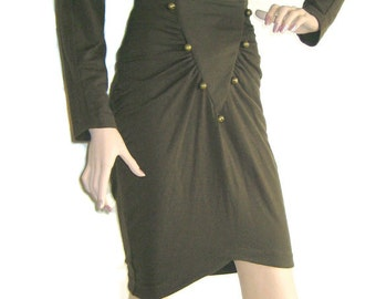 Vintage 1980's /1990's 2 piece Ruched Body Con Jacket/Blouse and Skirt by RARE designer 'Eletra Casadei'