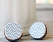 Reclaimed wood Stud Earrings Post earrings Gray blue Chevron print studs Earthy natural Eco friendly Casual classy jewelry . MiSSoNi PoSTS