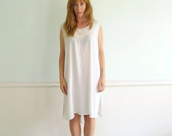 Embroidered Lattice Work Cut Out Bohemian White Semi Sheer Mini Dress - Vintage 90s - MEDIUM M