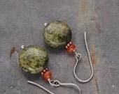 Carnelian and Serpentine Earrings