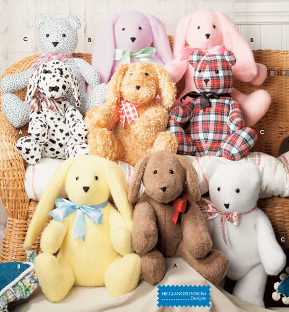 TEDDY BEAR Sewing Pattern Easy Stuffed Bears Dog by patterns4you