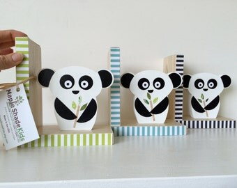 Panda Bear Bookends, Black, White and Green, Kids Bookends, Nursery Decor, Kids Decor, You choose COLOR, eco friendly