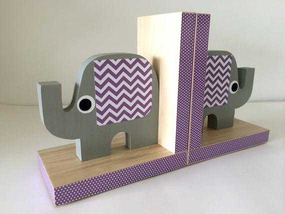Elephant Bookends Elephant Nursery Elephant Kids Decor Gray