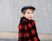 Boys Wool Jacket- Fall Lumberjack Jacket in Red and Black Plaid- Boys Winter Coat - Modern Kids (2T, 3T, 4T)