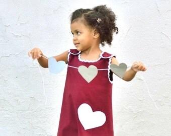 Girls Dress in Marsala Dark Red- Valentine's Day Dress- Toddler Girls Dress in Eco Friendly Cotton