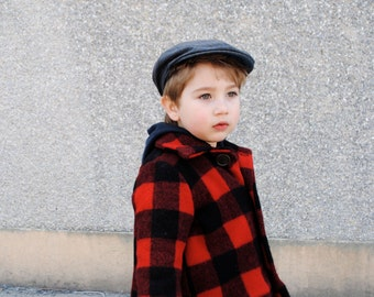 Boys Wool Jacket- Fall Lumberjack Jacket in Red and Black Plaid- Boys Winter Coat - Modern Kids (2T, 3T, 4T)