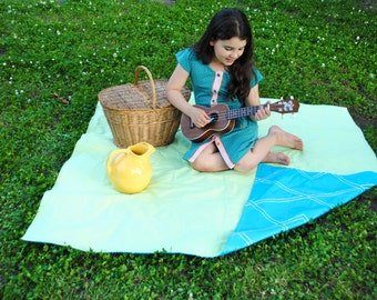 Waterproof Picnic Blanket- Green and White Gingham with Aqua Blue- Boho, Eco Friendly, Modern, Summer, Beach Blanket